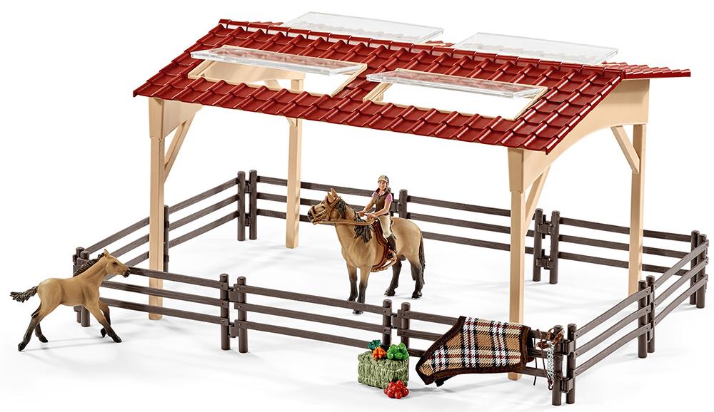Schleich 42195 Pferdestall mit Pferden und Zubehör Farm Life