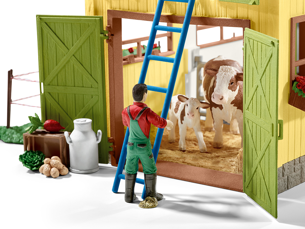 Schleich 42333 Großer Bauernhof mit Tieren und Zubehör Farm Life