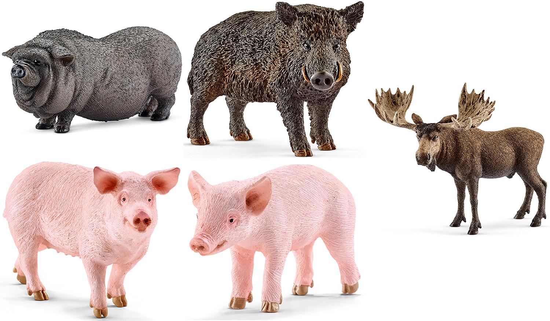 Schleich Elch Ferkel Hängebauchschwein Schwein Wildschwein Spielfiguren NEU
